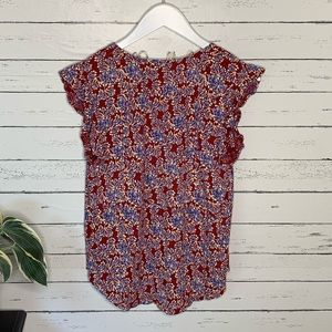 Lucky Brand Tops - Lucky Brand Red and Lavender Floral Ruffle Top